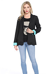 cheap -Women's Holiday / Going out Basic Fall & Winter Short Coat, Solid Colored Sun Flower Turndown Long Sleeve Faux Linen Print Black