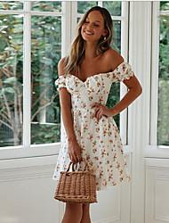 cheap -Women's Sheath Dress - Short Sleeve Geometric Off Shoulder Slim White S M L XL