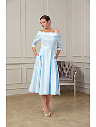 cheap -A-Line Off Shoulder Tea Length Satin 3/4 Length Sleeve Plus Size Mother of the Bride Dress with Beading / Appliques 2020