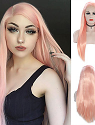 cheap -Synthetic Lace Front Wig Silky Straight Free Part Lace Front Wig Long Pink Synthetic Hair 18-24 inch Women's Cosplay Heat Resistant Party Pink