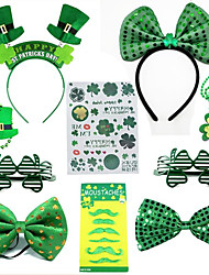 cheap -New Irish holiday party outfit st Patrick's day revel decorative hat bow tie beaded glasses sticker beard paste set 10 pieces