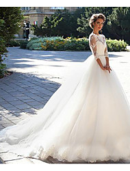 cheap -A-Line Off Shoulder Court Train Lace 3/4 Length Sleeve Casual / Beach / Vintage Illusion Sleeve Wedding Dresses with 2020