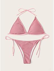 cheap -Women's Basic Blushing Pink Bandeau Cheeky High Waist Bikini Swimwear - Solid Colored Backless Lace up S M L Blushing Pink