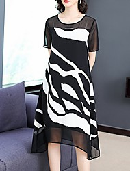 cheap -Women's Loose Dress - Stripes Black M L XL XXL