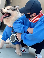 cheap -Dog Cat Costume Hoodie Matching Outfits Winter Dog Clothes Warm Yellow Blue Costume Labrador Alaskan Malamute Golden Retriever Cotton Striped Color Block Stripes Casual / Sporty Men M S M L XL XXL