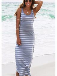 cheap -Women's Sheath Dress - Striped Black Maxi Blushing Pink Fuchsia S M L XL