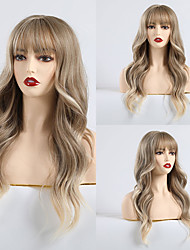 cheap -Synthetic Wig Bangs Curly Matte Minaj Neat Bang Wig Long Light Brown Synthetic Hair 24 inch Women's Color Gradient Comfy Light Brown