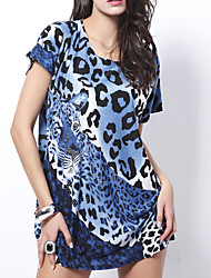 cheap -Women's / Ladies Date Street Trendy T-shirt Sleeve T Shirt Dress - Leopard Print Leopard Print Blue One-Size