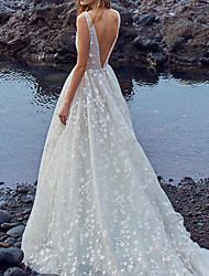 cheap -A-Line V Neck Floor Length Lace / Tulle Sleeveless Casual / Beach Made-To-Measure Wedding Dresses with Appliques / Lace Insert 2020