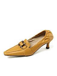 cheap -Women's Heels Kitten Heel Pointed Toe PU Minimalism Spring &  Fall Black / Almond / Yellow / Party & Evening