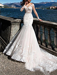 cheap -Mermaid / Trumpet Wedding Dresses Jewel Neck Sweep / Brush Train Tulle Long Sleeve Casual Plus Size Illusion Sleeve with Appliques 2020