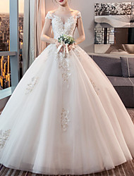 cheap -Ball Gown Wedding Dresses Jewel Neck Floor Length Lace Tulle Sleeveless Formal Plus Size with Lace Insert Appliques 2020