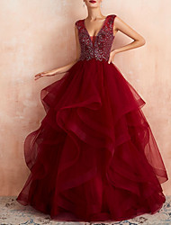 cheap -A-Line V Neck Floor Length Lace / Tulle Sleeveless Formal Red Wedding Dresses with Beading / Appliques 2020