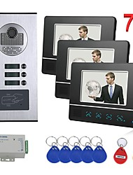 cheap -7 inch Touch Button 3 Apartment/Family Video Door Phone Intercom System RFID 1000TVL  Doorbell Camera