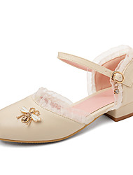 cheap -Women's Sandals Low Heel Round Toe Stitching Lace PU Casual / Preppy Summer Almond / White / Pink
