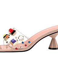 cheap -Women's Sandals Cone Heel Open Toe Rivet Synthetics Sweet / British Summer / Spring & Summer Black / Almond / White