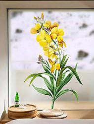 cheap -Yellow Flowers in Bloom Window Film & Stickers Decoration Matte / Floral Floral / Flower / Floral PVC(PolyVinyl Chloride) Window Sticker / Matte / Door Sticker