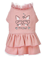 cheap -Dog Cat Dress Bowknot Flower Leisure Sweet Dog Clothes Pink Costume Polyester Cotton XS S M L XL