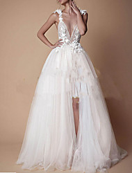 cheap -A-Line V Neck Floor Length Lace / Tulle Cap Sleeve Formal Plus Size Made-To-Measure Wedding Dresses with Appliques / Split Front / Lace Insert 2020