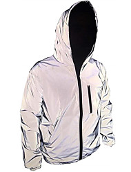 cheap -Men's Long Sleeve Running Track Jacket Reflective Jacket Hoodie Jacket Full Zip Outerwear Jacket Hoodie Street Athleisure High Visibility Reflective Windproof Fitness Running Jogging Sportswear Solid