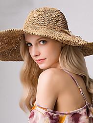 Недорогие -Жен. Классический Шляпа от солнца Солома,Однотонный Светло-коричневый Бежевый