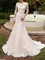 cheap -Mermaid / Trumpet Wedding Dresses Off Shoulder Sweep / Brush Train Tulle Long Sleeve Formal Plus Size Illusion Sleeve with Appliques 2020