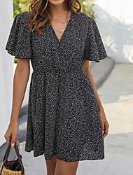 cheap -Women's / Ladies Date Street Trendy T-shirt Sleeve A Line Dress - Polka Dot Black & White, Printing Black S M L XL