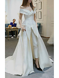 cheap -Jumpsuits Off Shoulder Sweep / Brush Train Satin Short Sleeve Romantic Plus Size / Modern Wedding Dresses with 2020