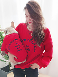 cheap -Dog Cat Costume Sweatshirt Matching Outfits Quotes & Sayings Simple Style Casual / Sporty Sports Casual / Daily Winter Dog Clothes Puppy Clothes Dog Outfits Warm Black Yellow Red Costume for Girl and