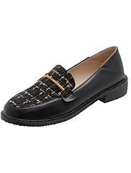 cheap -Women's Flats Chunky Heel Round Toe Linen / PU Casual Spring &  Fall Black / Almond / Color Block