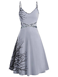 cheap -Women's 2020 Purple Blue Dress Elegant Spring & Summer Skater Color Block Strap S M Slim
