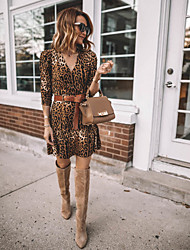 cheap -Women's Brown Dress Sheath Leopard V Neck S M Slim