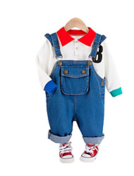 cheap -Baby Boys' Casual Print Long Sleeve Long Regular Clothing Set Black