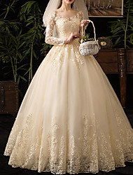 cheap -A-Line V Neck Floor Length Lace / Tulle 3/4 Length Sleeve Casual Plus Size / Illusion Sleeve Wedding Dresses with Lace Insert / Appliques 2020