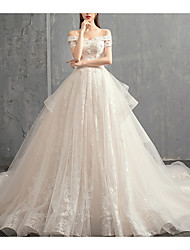 cheap -A-Line Wedding Dresses Off Shoulder Sweep / Brush Train Lace Tulle Sleeveless Formal Plus Size with Lace Lace Insert 2020