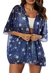 abordables -Femme Basique Bleu Vêtement couvrant Maillots de Bain - Fleur Géométrique Imprimé Taille unique Bleu