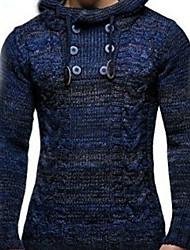 cheap -Men's Solid Colored Long Sleeve Pullover Sweater Jumper, Hooded Wine / Blue / Dark Gray US36 / UK36 / EU44 / US38 / UK38 / EU46