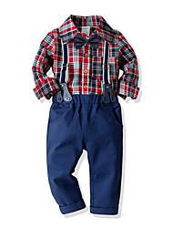 cheap -Kids Toddler Boys' Basic Birthday Party Party & Evening Black & White Geometric Print Long Sleeve Regular Regular Clothing Set Fuchsia