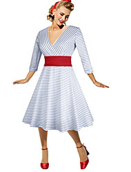 cheap -Audrey Hepburn Retro Vintage 1950s Wasp-Waisted Dress Women's Cotton Costume Gray Vintage Cosplay Party Daily Wear Long Sleeve Midi / Stripes