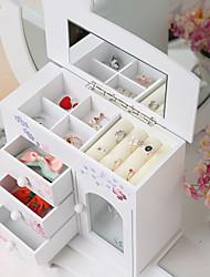 cheap -Square Jewelry Box - Wooden Black, White 26 cm 12.5 cm 22.5 cm