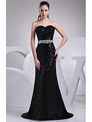 cheap -Sheath / Column Elegant Formal Evening Dress Sweetheart Neckline Sleeveless Court Train Sequined with Beading 2020