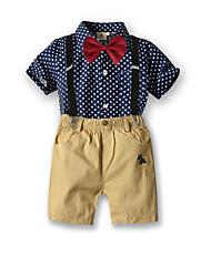 cheap -Kids Boys' Basic Birthday Party Party & Evening Black & White Geometric Print Short Sleeve Regular Regular Clothing Set Royal Blue