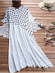 cheap -Women's Elegant Shift Dress - Polka Dot Black White M L XL XXL