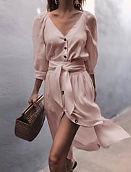 cheap -Women's Sheath Dress - Long Sleeve Solid Colored Spring & Summer V Neck Elegant Slim 2020 White Blushing Pink Gray S M L XL