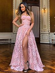 cheap -Women's A-Line Dress Maxi long Dress - Sleeveless Solid Colored Strapless Blushing Pink S M L XL