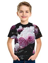 Недорогие -Дети Мальчики Активный Уличный стиль Цветочный принт 3D С принтом С короткими рукавами Футболка Цвет радуги