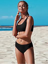 Недорогие -Жен. Большие размеры Черный Белый Пурпурный Танкини Купальники купальник - Однотонный S M L Черный