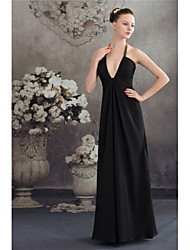cheap -A-Line Elegant Formal Evening Dress Halter Neck Sleeveless Floor Length Chiffon with Ruched Beading 2021