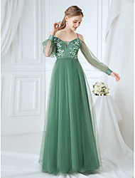 cheap -A-Line Spaghetti Strap Tulle Bridesmaid Dress with Appliques