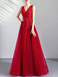 cheap -A-Line Wedding Dresses V Neck Floor Length Tulle Regular Straps Romantic Plus Size Red with Appliques 2020